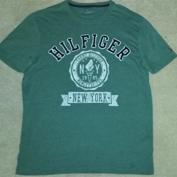 5e22ea2a Tommy Hilfiger Shirts | Green Spell Out Logo Tee Size Large | Poshmark